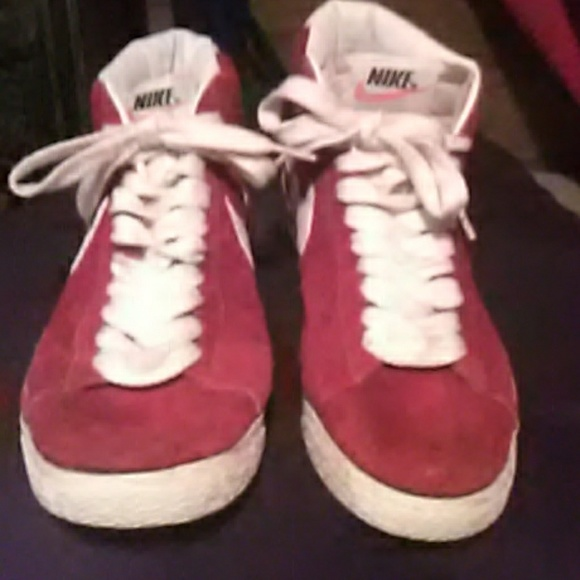 Nike Red And White Suede Tennis Shoes